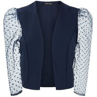 Navy Spot Organza Sleeve Crop Blazer New Look