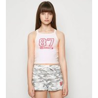 Girls Pink Camo Brooklyn Slogan Pyjama Set New Look
