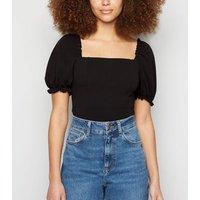 Black Puff Sleeve Bodysuit New Look