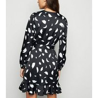 Black Spot Satin Long Sleeve Wrap Dress New Look