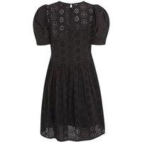 Black Broderie Puff Sleeve Smock Dress New Look