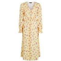 Yellow Floral Frill Midi Dress New Look