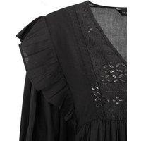 Black Embroidered Frill Trim Mini Smock Dress New Look