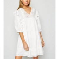 White Embroidered Frill Trim Mini Smock Dress New Look