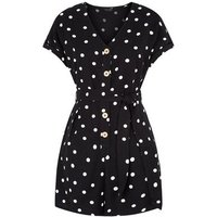 Black Spot Button Front Belted Playsuit New Look