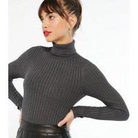 Dark Grey Ribbed Knit Roll Neck Jumper New Look