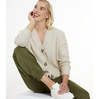 Cream Ribbed Knit Button Up Cardigan New Look