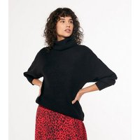 Black Slouchy Roll Neck Jumper New Look