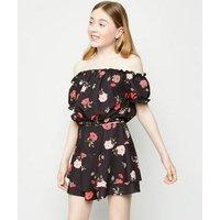 Girls Black Floral Scuba Bardot Top New Look