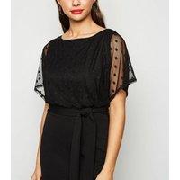 Black Spot Mesh Batwing Belted Dress New Look