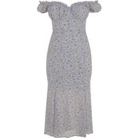 Urban Bliss Pale Blue Floral Bardot Midi Dress New Look