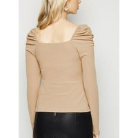 Camel Ribbed Square Neck Puff Sleeve Top New Look