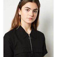 Girls Black Utility Shirt Dress New Look