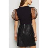 Petite Black Animal Print Organza Sleeve Bodysuit New Look