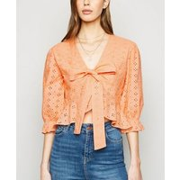 Pink Vanilla Orange Crochet Wrap Top New Look