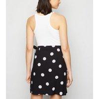 Black Spot Wrap Mini Skirt New Look