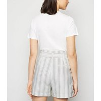 Off White Stripe Linen Look Belted Shorts New Look