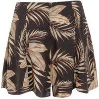 Black Tropical Print Flippy Shorts New Look