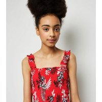 Girls Red Tropical Shirred Playsuit New Look