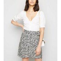 Black Floral Wrap Mini Skirt New Look