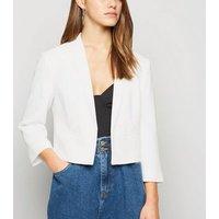 Petite White 3/4 Sleeve Crop Blazer New Look