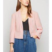 Petite Pink 3/4 Sleeve Crop Blazer New Look