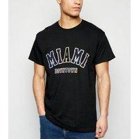 Mens Black Miami Slogan T-Shirt New Look