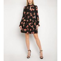 Gini London Black Floral Spot High Neck Dress New Look