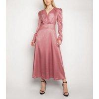 Gini London Pink High Shine Puff Sleeve Dress New Look