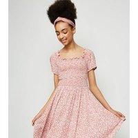 Girls Pink Floral Shirred Hanky Hem Dress New Look