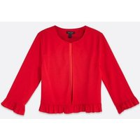 Red Scuba Frill Trim Blazer New Look