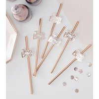 Ginger Ray Rose Gold Team Bride Straws New Look