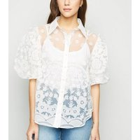 Blue Vanilla Off White Embroidered Puff Sleeve Shirt New Look