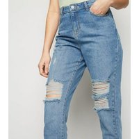 Urban Bliss Blue Ripped Mom Jeans New Look