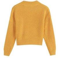 Girls Mustard Pointelle Knit Jumper New Look