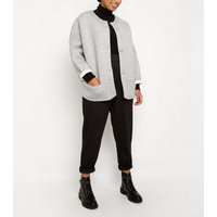 Till We Cover Pale Grey Scuba Cocoon Jacket New Look