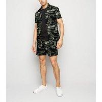 Men's Black Tropical Camo Ripstop Shirt New Look