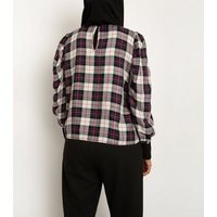 Till We Cover Multicoloured Check Ruched Sleeve Top New Look