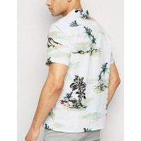 White Tropical Print Short Sleeve Shirt New Look