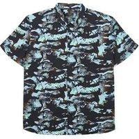 Plus Size Blue Camo Leaf Short Sleeve Shirt New Look