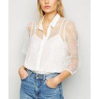 White Check Organza Puff Sleeve Shirt New Look