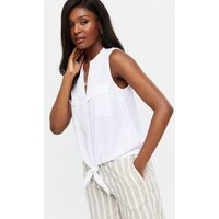 White Tie Front Double Pocket Sleeveless Shirt New Look