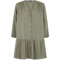Khaki Crosshatch Long Peplum Shirt New Look