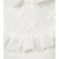 White Sleeveless Broderie Frill Blouse New Look