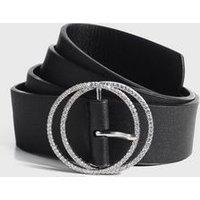 Black Leather-Look Diamante Circle Buckle Belt New Look Vegan