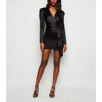Cameo Rose Black Satin Wrap Dress New Look
