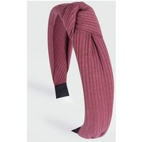 Deep Pink Ribbed Knot Headband New Look
