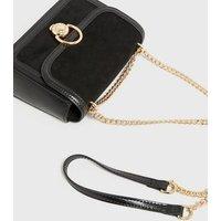 Black Suedette Chain Strap Cross Body Bag New Look Vegan
