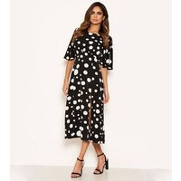 AX Paris Black Spot Split Hem Midi Dress New Look