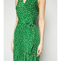 AX Paris Green Floral Ruffle Hem Dress New Look
